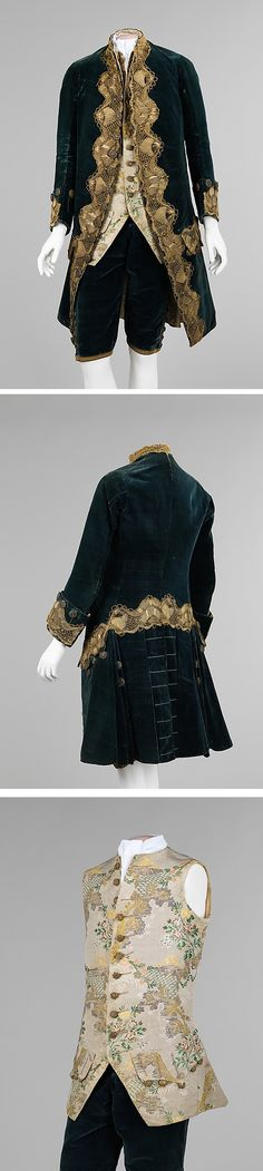 Suit, 1740-1760, Italian, Made of silk, metal, cotton, and linen ~ This suit is the epitome of mid-18th century men's wear with its curved jacket front, fitted breeches, narrow sleeves and decorative mid-thigh length waistcoat. Waistcoats of the time were a vehicle for imagination and, in this case, add an ornate aspect to an otherwise conservative ensemble. Unlike most suits of the period, this suit can be undoubtedly linked through matching buttons on the coat, breeches and waistcoat.