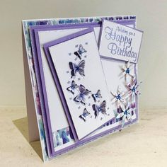 Designed & created by Chloe Endean using her Stamps By Chloe range Chloes Creative Cards, Stamps By Chloe, Flower Stamp, Crafters Companion, Butterfly Cards, Happy Birthday Cards, Cardmaking, Card Ideas, Decorative Boxes