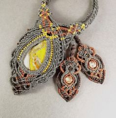 Macrame Necklace Bumble Bee Jasper with Gray Thread by neferknots