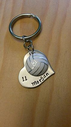 Hand Stamped Volleyball Keychain - Personalized Volleyball Keychain - Volleyball Team Gift - Pick Team Colors - Senior Gift - *** Want additional info? Click on the image.