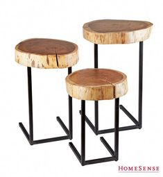 Wood And Iron Nesting Tables In 2019 Modern Rustic Luxe