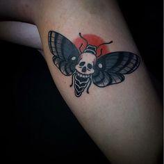by @cody.nsi, moth tattoo, traditional tattoo, tattoo idea, black work, kelowna tattoo, okanagan tattoo, canada, canadian artist, tattoo