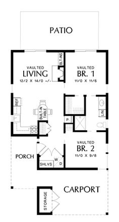 Main Floor Plan of Mascord Plan 1175 - The Perrydale - Fun in the Sun, Mountains or Secluded Nook