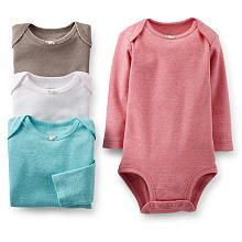 Carter's Girls 4 Pack Solid Long Sleeve Pointelle Bodysuits