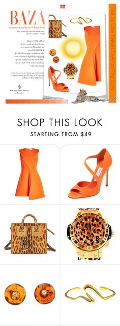 """""""Cat on a hot tin roof"""" by onenakedewe ❤ liked on Polyvore featuring Victoria Beckham, Jimmy Choo, Sophie Hulme, Hublot, Be-Jewelled, Felice Dahl, hot and summerdress"""