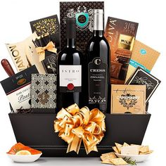 Perfectly Matched Food And Wine Basket | Valentines Day Gifts For Couples, Him, Her, Wife, Husband