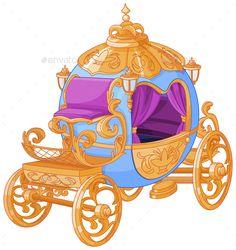 Illustration of Cinderella fairy tale carriage vector art, clipart and stock vectors. Vector Art, Free Vector Images, Cinderella Pumpkin Carriage, Princess Carriage, Floor Murals, Imagenes My Little Pony, Scenery Wallpaper, Anime Scenery, Princesas Disney