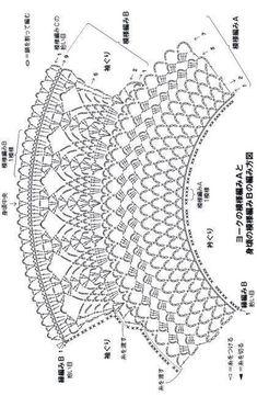 Women's Crochet Top Pattern PDF Japanese Pattern with Charts Ladies Jumper Pullover Yoke Sweater Dia Col Crochet, Crochet Motifs, Crochet Collar, Crochet Stitches Patterns, Crochet Diagram, Crochet Chart, Knitting Patterns, Crochet Toddler, Baby Girl Crochet