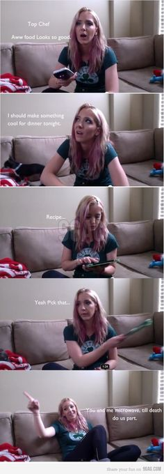 Jenna Marbles. My girl. She knows how to... well... not cook... We have so much in common! ._.