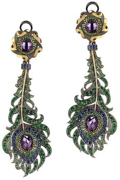 A Pair of Tsavorite, Sapphire and Amethyst Ear Pendants. Each suspending an articulated feather drop, accented by circular-cut sapphires, tsavorite and vari-cut amethyst, from a similarly designed surmount, mounted in 14K yellow gold, length 31/4 inches.Signed 'AF' for Axenoff Jewelry, with Russian assay marks, with an original box. Via Philips.
