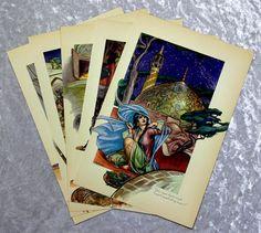 1937 Hajji Baba 5 Vintage Book Plate Prints, Illustrations by Cyrus LeRoy Baldridge, Iran Persia, Antique (B5) by OakwoodView, $10.00