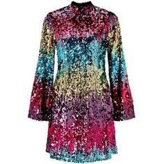 PREMIUM Ombre Flute Sleeve Sequin Dress (360 RON) ❤ liked on Polyvore featuring dresses, sequin embellished dress, ombre cocktail dress, sleeved dresses, sequin dress and miss selfridge dresses