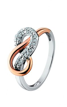 Rose and White Gold Diamond Infinity Ring