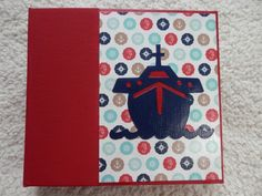 Lets Cruise!! This is a 6x6 inch chipboard scrapbook album is perfect to remember your cruise vacation.  The spine of the book is navy blue and