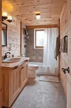 116 Rustic and Farmhouse Bathroom Ideas with Shower - Matchness.com Rustic Bathroom Designs, Rustic Bathroom Decor, Rustic Bathrooms, Bathroom Ideas, Shower Bathroom, Log Cabin Bathrooms, Bathroom Mirrors, Small Cabin Bathroom, Bathroom Cabinets