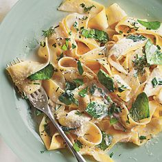 Pappardelle with Baby Spinach, Herbs, and Ricotta | Fettuccine will also work if you can't find pappardelle. Have all the ingredients prepped and ready to go before beginning to cook—the pasta needs to be hot when mixed with the other ingredients to create a creamy consistency.
