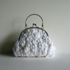 Evening Bag Knitted in White Cotton - Plated Handles | knitBrandashop - Scarves and Accessories