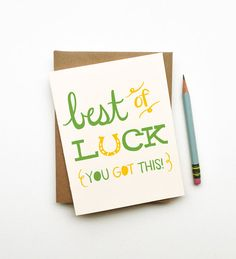 Best of Luck illustrated drawing good luck card horseshoe retro vintage style calligraphy handwriting green gold white It's Your Birthday, Birthday Cards, Funky Gifts, Good Luck Cards, Good Essay, Congratulations Card, Scrapbook Cards, Scrapbooking, Card Templates