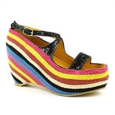 a01985865dd Fahrenheit Black Cross Strap Rainbow Wedges Sandals
