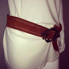 VINTAGE Brown Suede BOHO Stitch Belt VERY by SoaringHawkVintage, $12.00