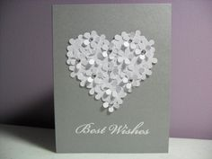 Handmade Engagement/Wedding Card - Best Wishes - Flower Heart Card - BLANK Inside on Etsy, $3.50