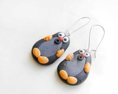 Shop for on Etsy, the place to express your creativity through the buying and selling of handmade and vintage goods. Mole, Polymer Clay Earrings, Funny Animals, Drop Earrings, Unique Jewelry, Handmade Gifts, Curvy, Crafts, Gift Ideas