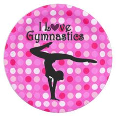 PINK POLKA DOT I LOVE GYMNASTICS PAPER PLATES Calling all Gymnasts! Enjoy the best selection of Gymnastics Party Goods and Gifts from Zazzle.  15% Off Sitewide Use Code: ZAZFLASHSAVE http://www.zazzle.com/mysportsstar/gifts?cg=196751399353624165&rf=238246180177746410   #Gymnastics #Gymnast #Gymnastparty