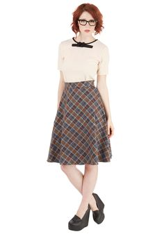 Spool and Confident Skirt in Camel. On the first day of textile design class, you feel no signs of jitters! #multi #modcloth