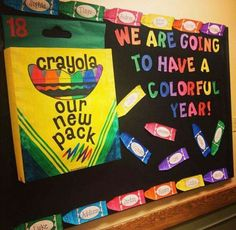 Back to School Board. New pack of crayons. We are going to have a colorful year! Kids are SO COLORFUL with their individual personalities.they make the world go round and as pretty as a picture! Crayon Bulletin Boards, Colorful Bulletin Boards, Kindergarten Bulletin Boards, Class Bulletin Boards, Welcome Bulletin Boards, Preschool Welcome Board, September Bulletin Boards, Bullentin Boards, Preschool Parent Board