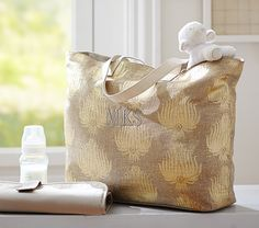 Champagne Gold Luxe Metallic Printed Diaper Bag | Pottery Barn Kids