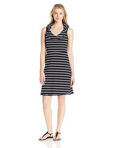 Marc New York Performance Women's Hooded Thick Thin Stripe Dress W/ Shelf Bra -- Quickly view this special  product, click the image : Dresses Sale