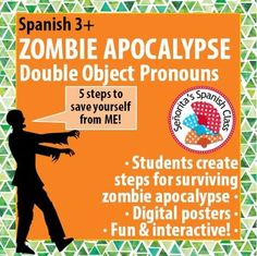 $ Halloween is quickly approaching! Have some fun with ZOMBIES and double object pronouns with commands in this fun, creative Spanish activity.