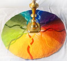 Large wool felted table mat , Waldorf art, daily color of the week