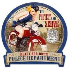 Vintage-Retro Police Bike rotonda Banner Metal-Tin Sign