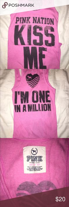 Pink Victoria secret tank top Kiss me I'm one in a million tank top! Willing to negotiate! PINK Victoria's Secret Tops Tank Tops