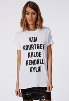 Missguided Slogan K T-shirt in White - £13