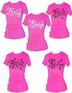 Set of 16 Bridal Party T-Shirts Bachelor and Bachelorette Party for Wedding - YOU CHOOSE COLORS. $164.95, via Etsy.