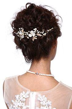 HailieStudio Handmade Golden Pearls Wedding Bride Bridesmaids Floral Headpiece ** For more information, visit image link.