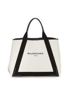 Cabas+Medium+Canvas+Logo+Tote+Bag,+Black/Natural+by+Balenciaga+at+Bergdorf+Goodman.
