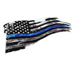 Tattered Thin Blue Line Flag Tattoo