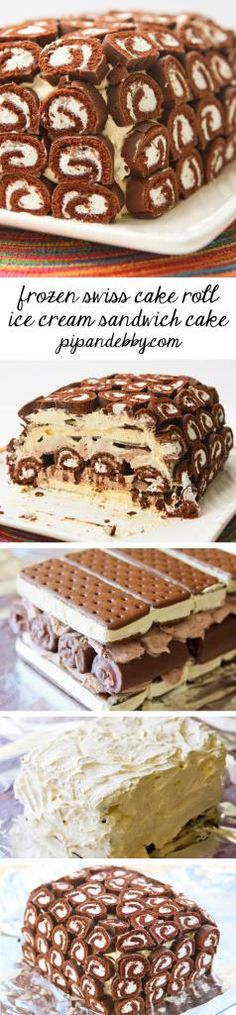 Frozen Swiss Cake Roll Ice Cream Sandwich Cake | pipandebby.com