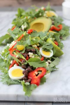 Southwest Baby Kale Salad with Cumin-Ginger-Sage Dressing {Beard and Bonnet}.