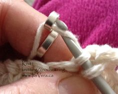 Crochet or knitting ring The original 2 loop knitting/crochet ring © Vera Tempelmans Plat 2013-2017  This listing is for 1 Knit2, double loop, silver plated brass knitting/crocheting/stranding ring, ONLY  Knit2, knitting/crochet ring. - original knitting ring design by Vera. - featured in many USA and UK knitting magazines. - hand-fabricated with eco-friendly vintage silverware. - loop is slightly open in order to slip the yarn in and out easily. - no more blisters on fing...
