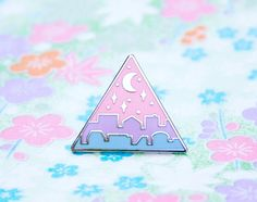 Cute Enamel Pins Nightfall Cityscape Lapel Pin Silver