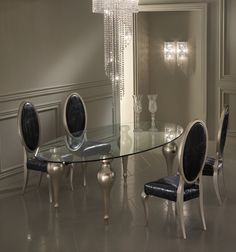 Black, silver, dining room