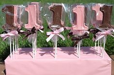 pink and brown candy party favors
