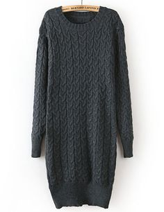 Grey Long Sleeve Vintage Cable Knit Sweater GBP£23.48