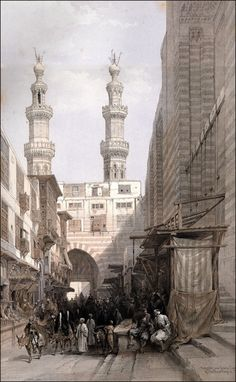 THE MINARETS OF THE BAB ZUWEYLEH, AND ENTRANCE TO THE MOSQUE OF THE METWALIS, CAIRO.