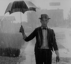 Depression comedy | umbrella | Buster Keaton | silent film | rainy day