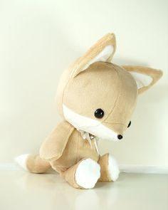 Cute Bellzi Stuffed Animal Brown w/ White Contrast Fox Plushie Doll - Foxxi on Etsy, $35.00